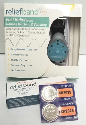 Reliefband Kit Stops Motion Sickness, Sea Sickness and Morning Sickness Fast - Comes with 2 extra batteries & 1 extra tube of gel.